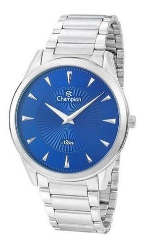 relógio champion masculino prata azul slim ca21768f original