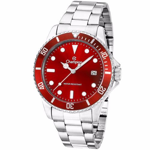 relógio champion masculino prata-fundo vermelho