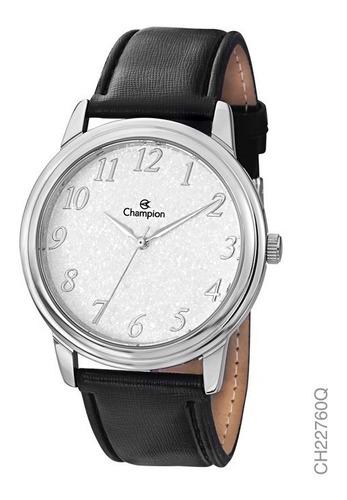 relógio champion masculino prata social em couro ch22760q