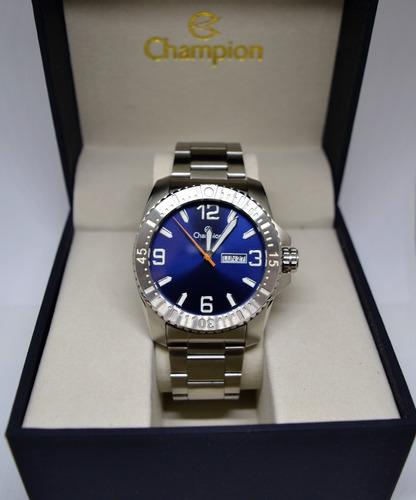 relogio champion masculino prata visor azul ca31588f calend