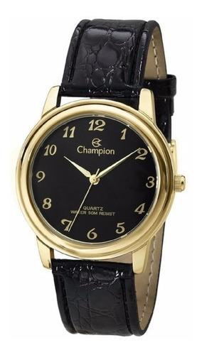 relógio champion pulseira couro caixa dourada ch22153p