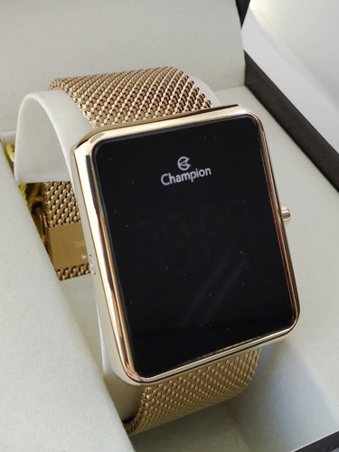 relogio champion quadrado digital led dourado lançamento
