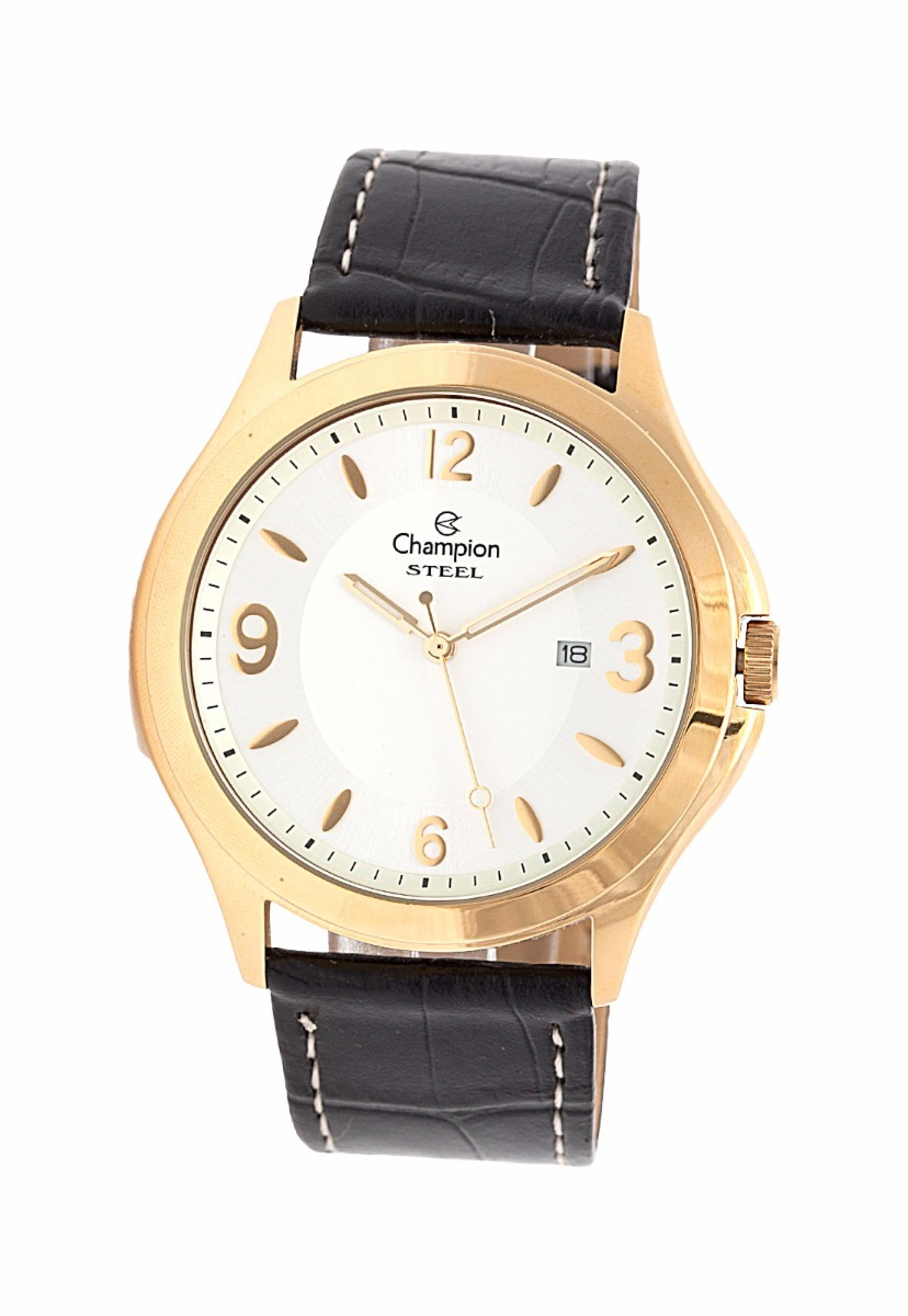 00b79966ffe relógio champion steel dourado pulseira de couro masculino. Carregando zoom.