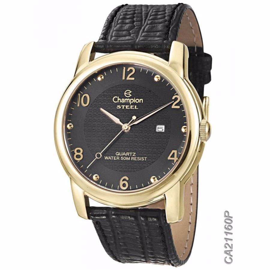 188604ac6b0 relógio champion steel masculino dourado pulseira de couro. Carregando zoom.