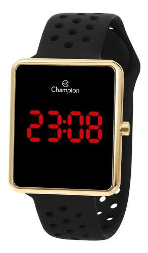 relógio champion unisex digital quadrado dourado led vermelh