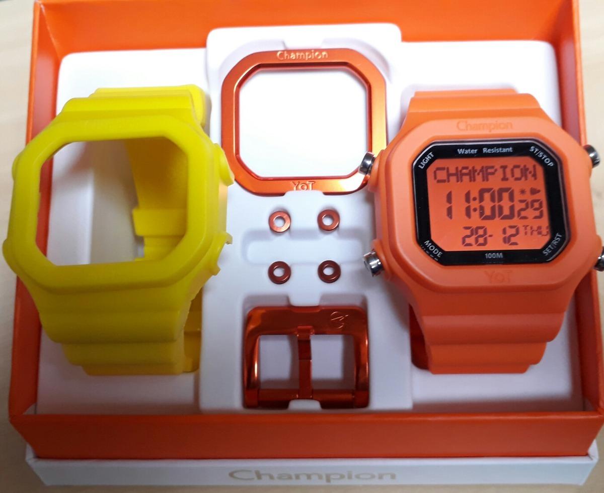 fe3fb387466 Relógio Champion Yot Cp40180x Kit Amarelo Laranja Pç Laranja - R  158