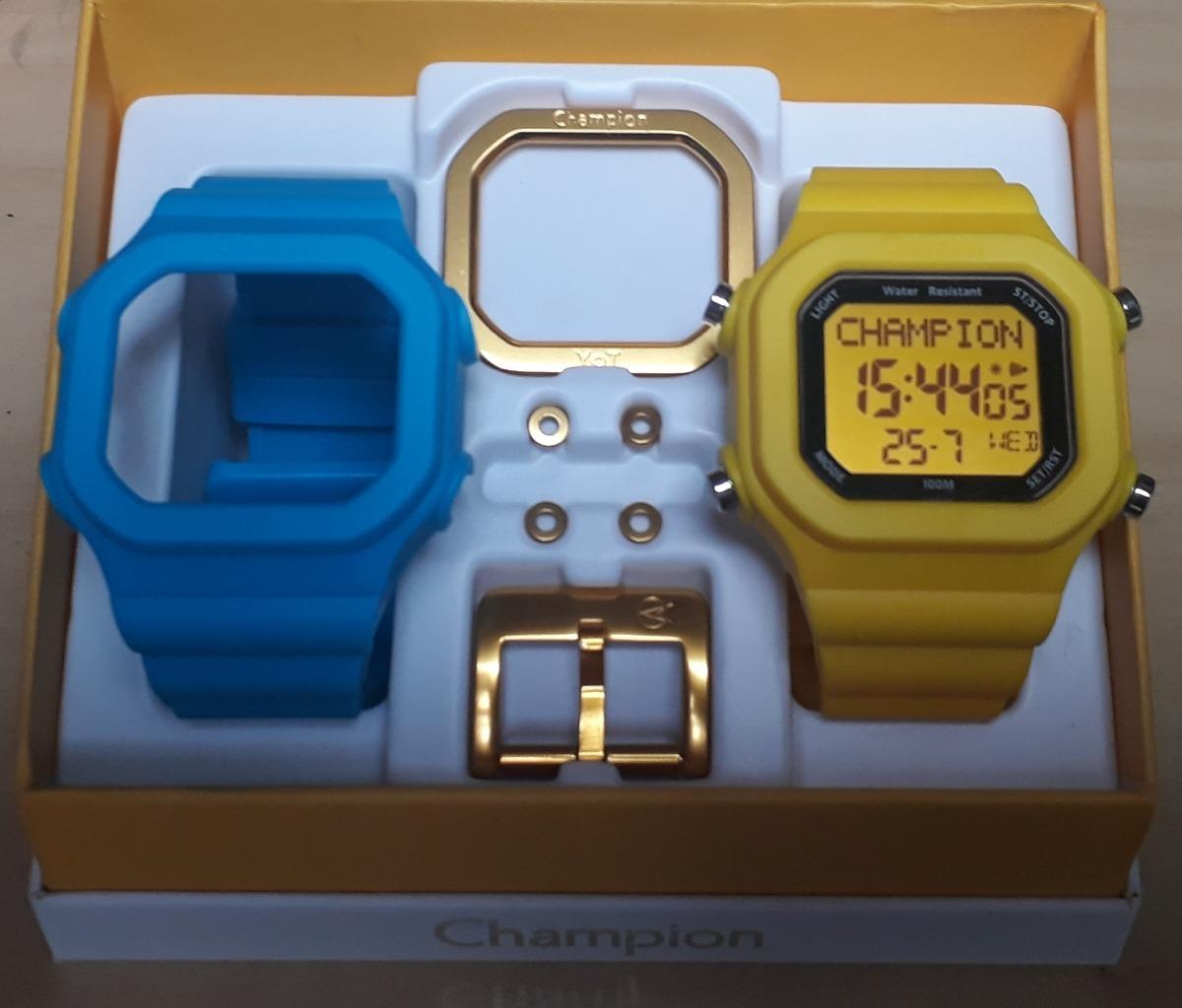 f73b85d1a9a Relógio Champion Yot Cp40180x Kit Azul Amarelo Dourado - R  159