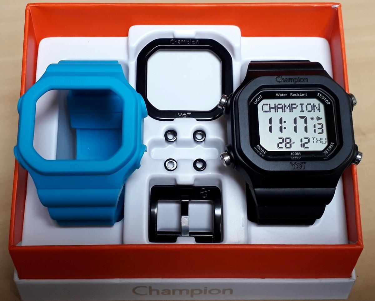 52f3fe28340 Relogio Champion Yot Cp40180x Kit Preto Azul Pç Preta - R  148