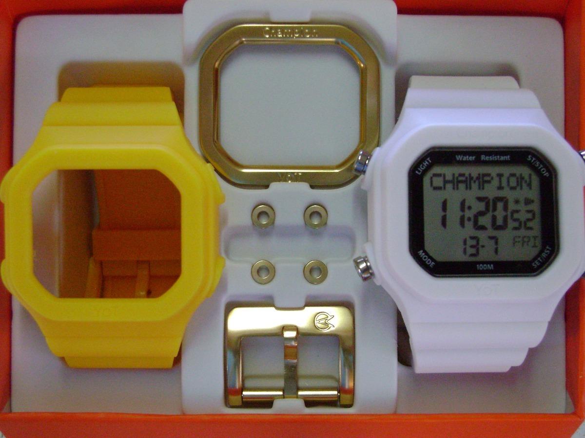 24045cd863c relógio champion yot original cp40180x nf amarelo branco. Carregando zoom.