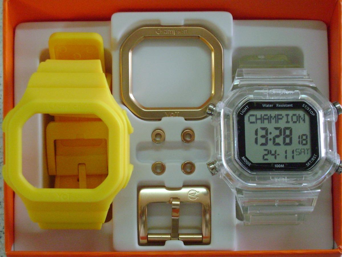 45f66857725 relógio champion yot original cp40180x nf amarelo transparen. Carregando  zoom.