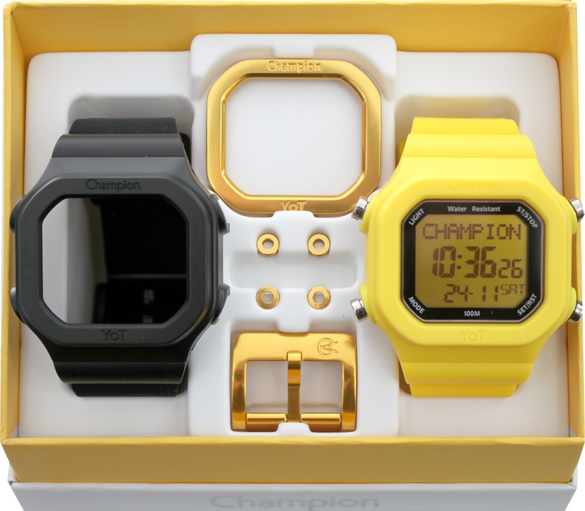 f8e09be559d relógio champion yot troca pulseira preto e amarelo. Carregando zoom.