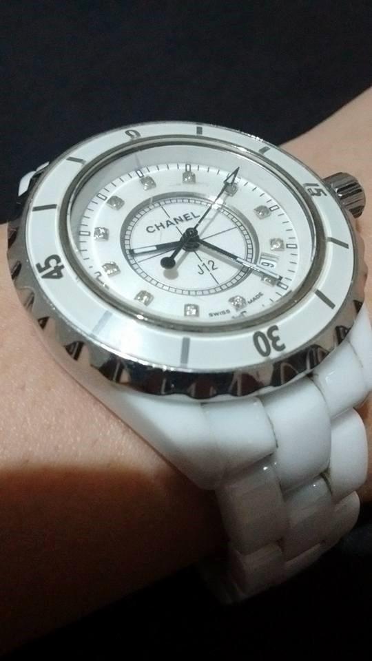 6ab51a0fb86 relógio chanel j12 h1628 diamantes cerâmica branca. Carregando zoom.