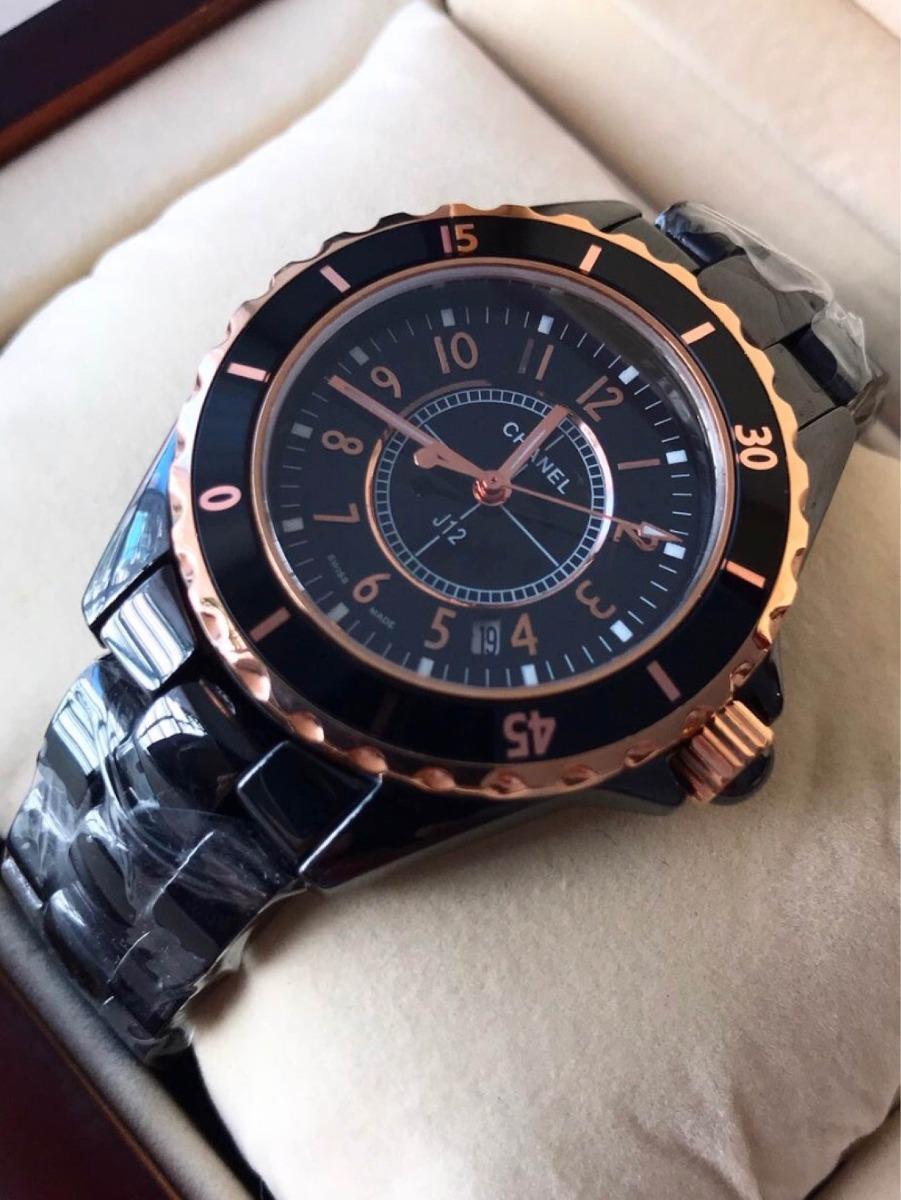 746609e9611 relógio chanel preto com rosé. Carregando zoom.