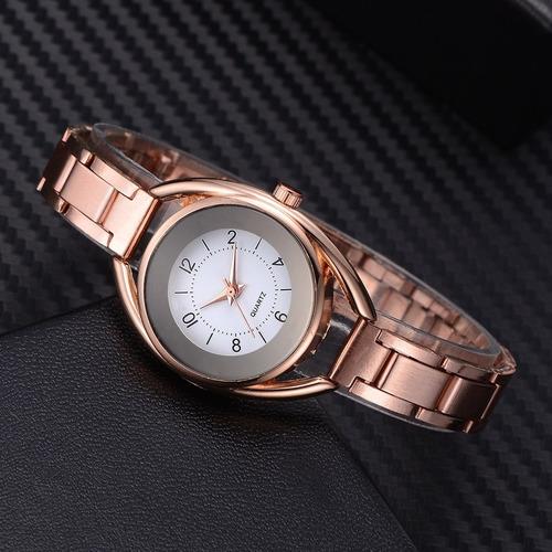 relógio charme ultra fino de aço inoxidável cores variadas
