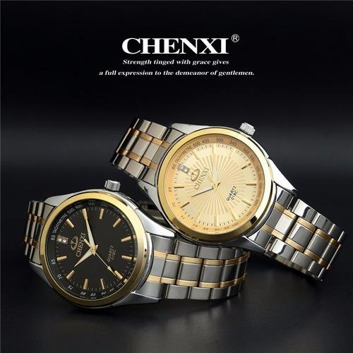 relógio chenxi a prova dágua dourado original pulseira aço.