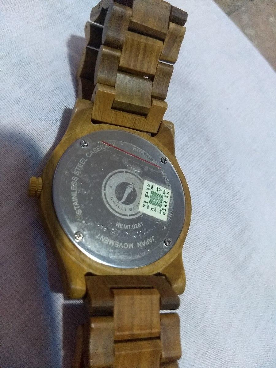 54446d356b5 relógio chilli beans madeira capitain kidiie. Carregando zoom.