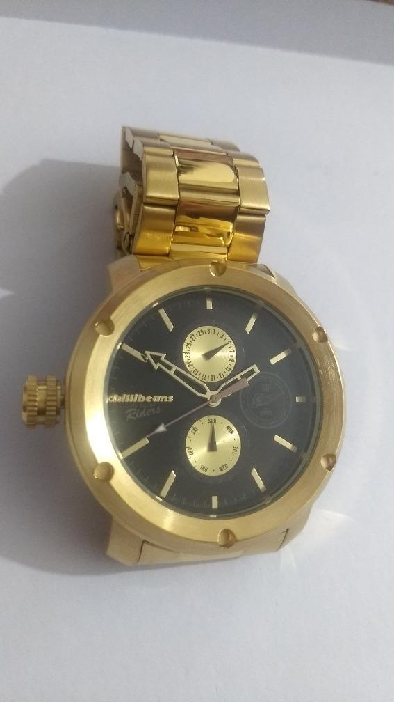 71576bad332 relógio chillibeans dourado grande especial. Carregando zoom.