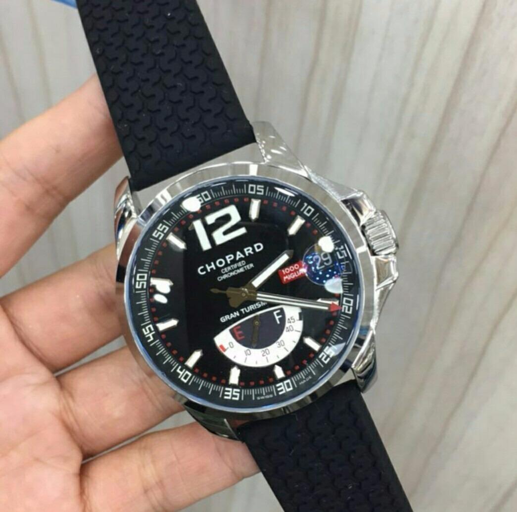 ced3c7f5ff4 relógio chopard automático gran turim xl preto borracha. Carregando zoom.