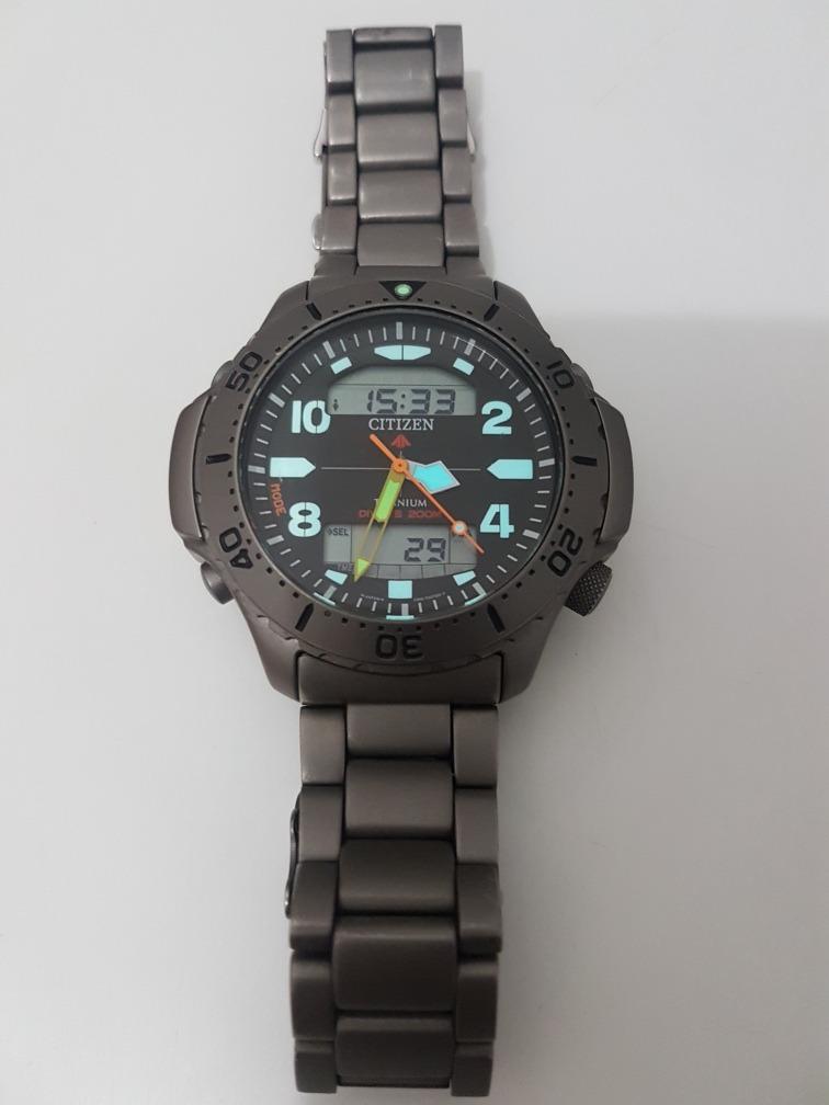 aa4df50f8a8 relógio citizen aqualand aquamount jp3050 titanium lindão. Carregando zoom.