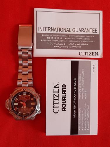 relogio citizen aqualand c500 fundo preto série prata.