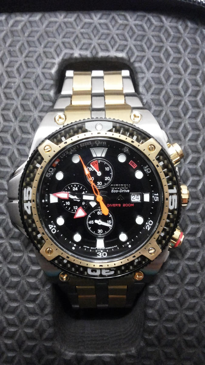 6513e84d1a5 relógio citizen aqualand carbon eco drive bj2105 customizado. Carregando  zoom.