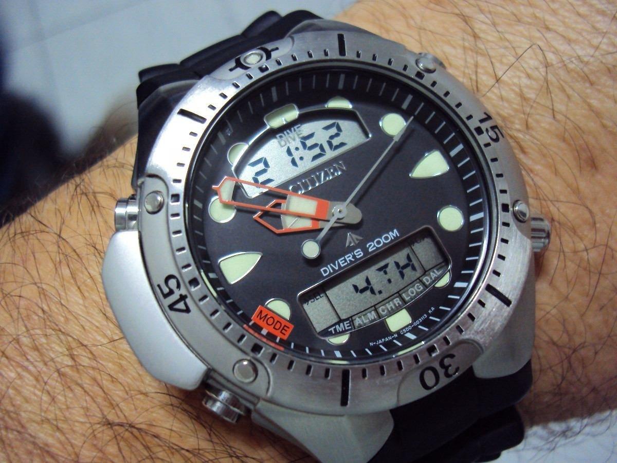 ee197eb1127 relógio citizen aqualand jp-1060 pulseira borracha. Carregando zoom.
