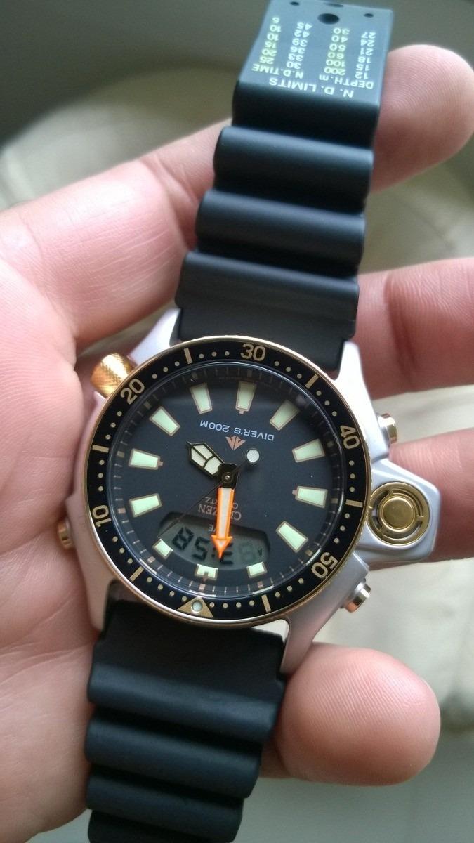 a30e7f1131a relógio citizen aqualand jp2004-07e série ouro. Carregando zoom.