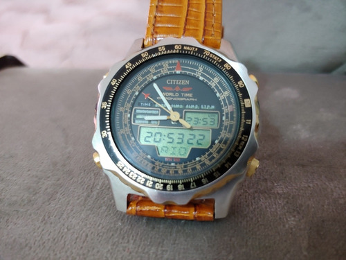relógio citizen c080 world time série ouro