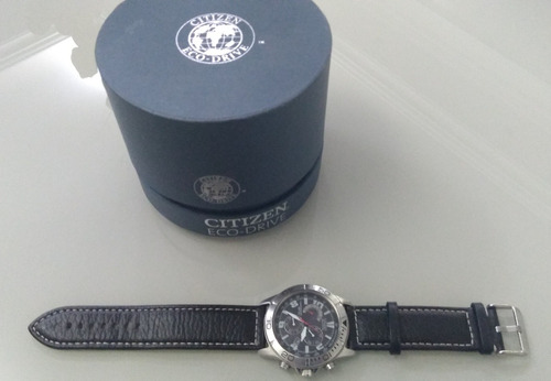 relogio citizen eco drive h 570 couro chronograph japan