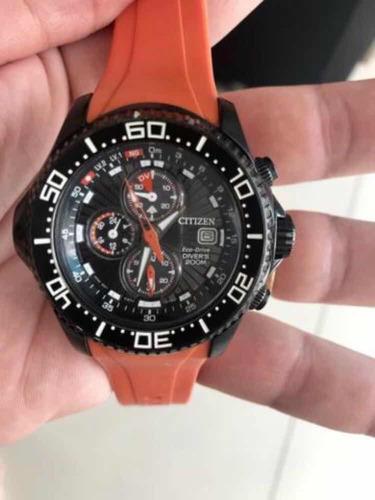 relógio citizen eco drive laranja original