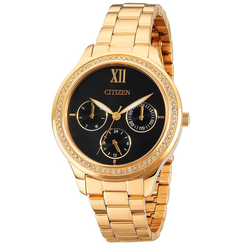 relógio citizen feminino dourado multifunção tz28342u ladies