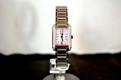 relogio citizen feminino original prata c strass fundo rosa