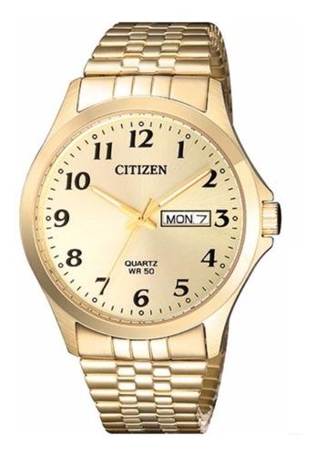 relogio citizen masculino dourado calendário duplo tz20813g