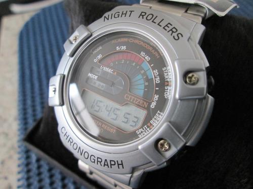relógio citizen night rollers - novo na caixa - anos 90 show