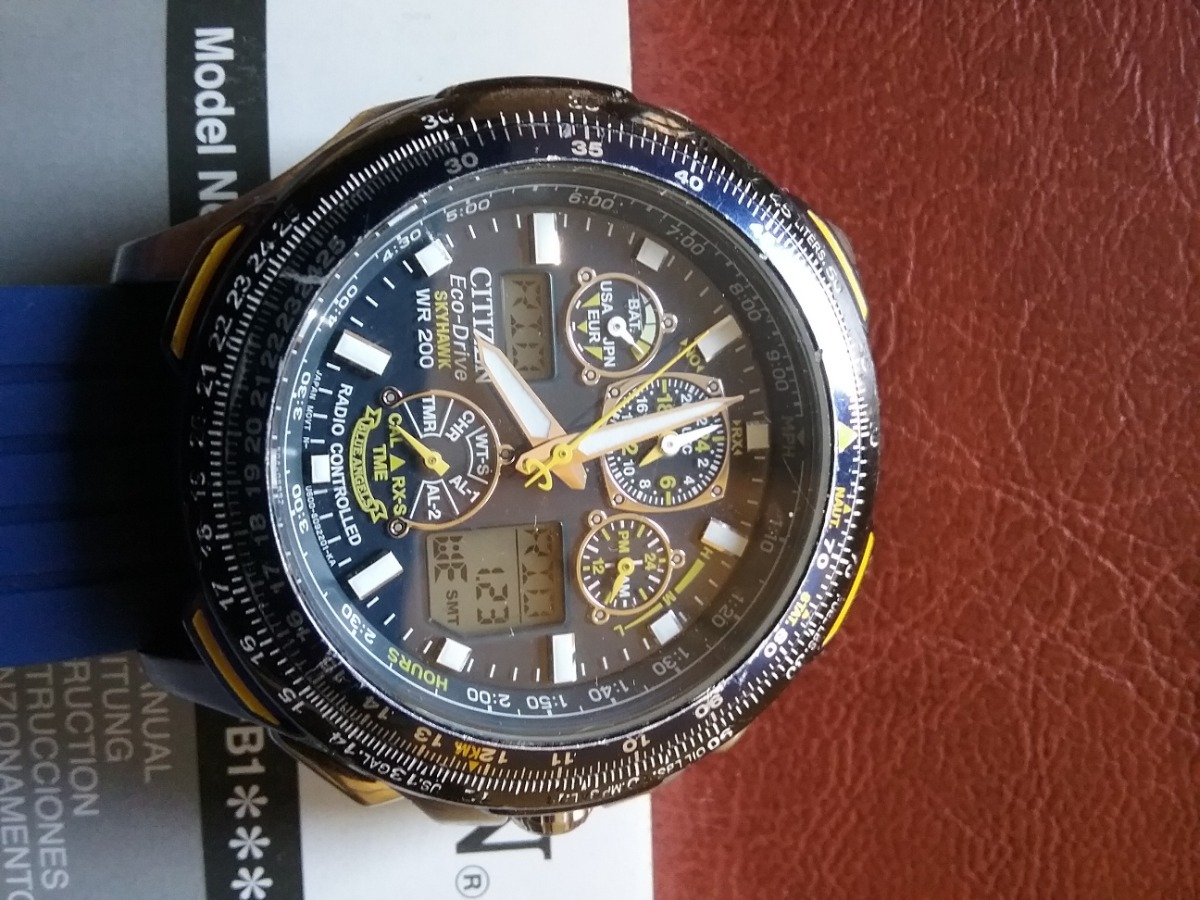 9efad9c3f0b relogio citizen skyhawk eco-drive blue angels jy0064-00l. Carregando zoom.