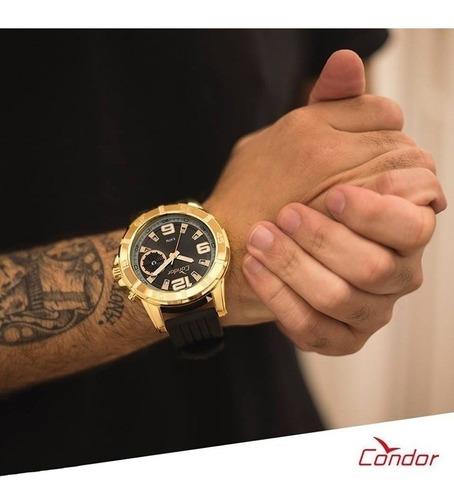 relógio condor co2317ac/2p dourado masculino silicone