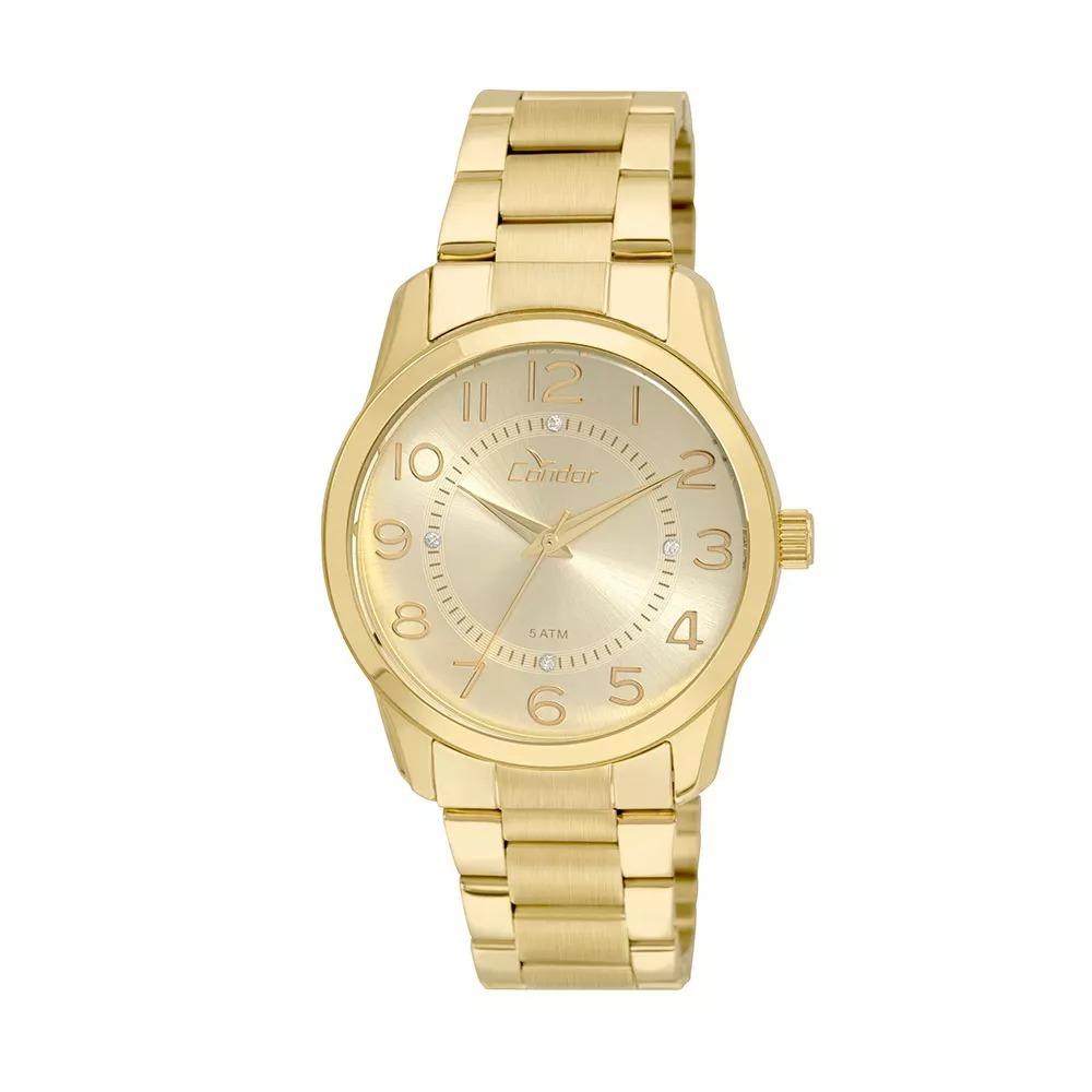 e9cb8811a17f9 Relógio Condor Dourado Feminino Co2039ab 4d - R  169,00 em Mercado Livre