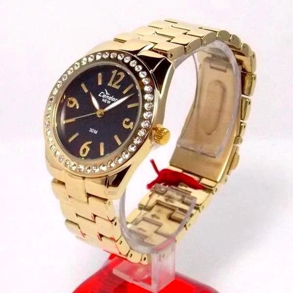 e41b2f2d059 Relógio Condor Dourado Feminino Cristais Mostrador Preto - R  239
