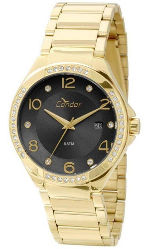 relógio condor dourado fundo preto co2115sv/4p