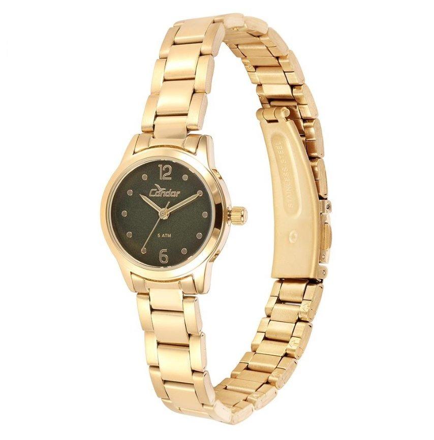 b16cd91a65b Relógio Condor Dourado Feminino Pequeno Co2035knd 4v - R  99
