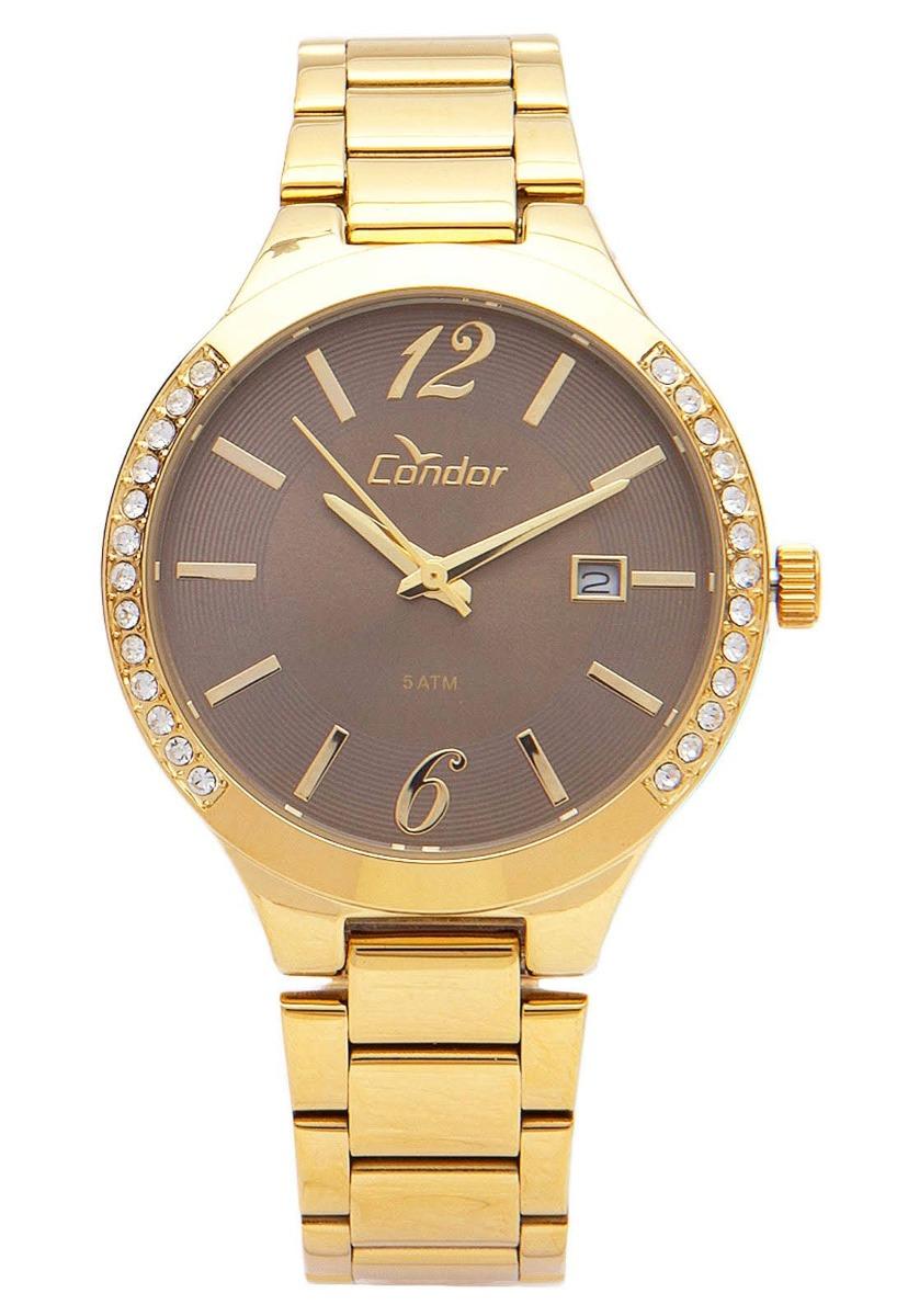 c30896c7a80 relógio condor feminino aço dourado visor marrom co2115to 4c. Carregando  zoom.