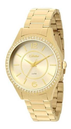 relógio condor feminino copc21al/k4x dourado + nfe