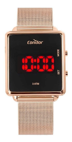 relógio condor feminino digital led cojhs31bab/4j rose