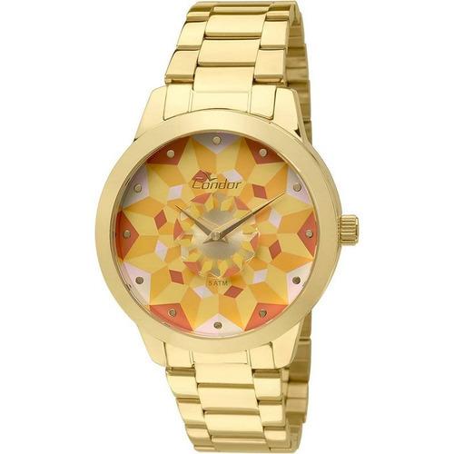 relógio condor feminino dourado aço analógico co2036koe/4x