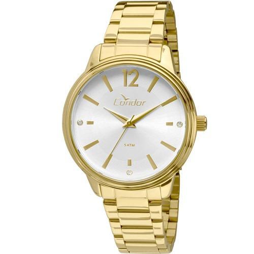 relógio condor feminino dourado co2035kmh/4k