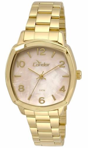 relógio condor feminino dourado co2035krk/4x lindo aproveite