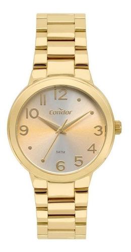 relógio condor feminino ref: co2035kxp/4k casual dourado