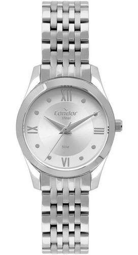 relógio condor feminino ref: co2035mpw/4k prata inox
