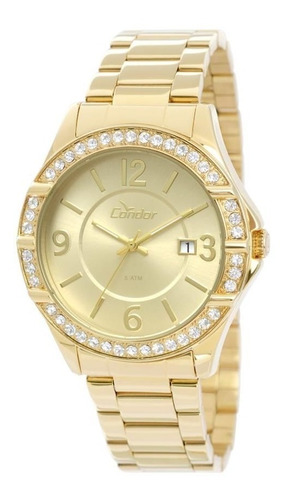 relógio condor feminino ref: co2115tm/4x casual dourado