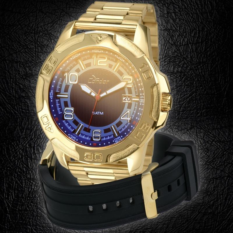 e7beda60850 Relógio Condor Masculino Dourado Troca Pulseiras Co2415aj 4a - R ...